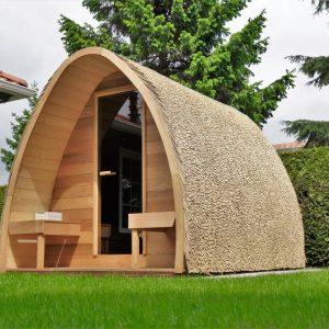 Rieten dak voor de Saunapod!
