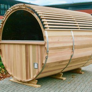 Barrelsauna BS310 half rond raam in Red cedar Kozijn