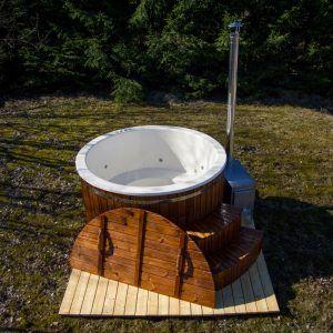 Luxe hottub THERMOWOOD met acryl binnenschelp en houtkachel diameter 180cm