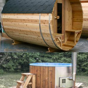 "BSKN310V en DeLuxe Hottub in Thermowood met houtkachel ""SUMMER-SALE""!!"