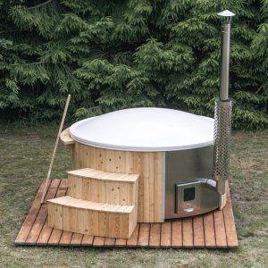 DeLuxe Hottub inclusief geïntegreerde houtkachel incl. zandfilter, UVC sterilisator en LED ZOMERAANBIEDING!!